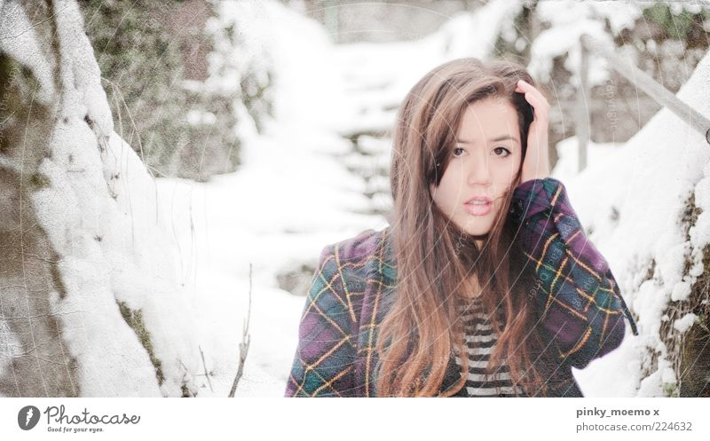 Human being Youth (Young adults) Beautiful Winter Cold Snow Feminine Head Bright Fashion Beauty Photography Natural Model Authentic Meditative