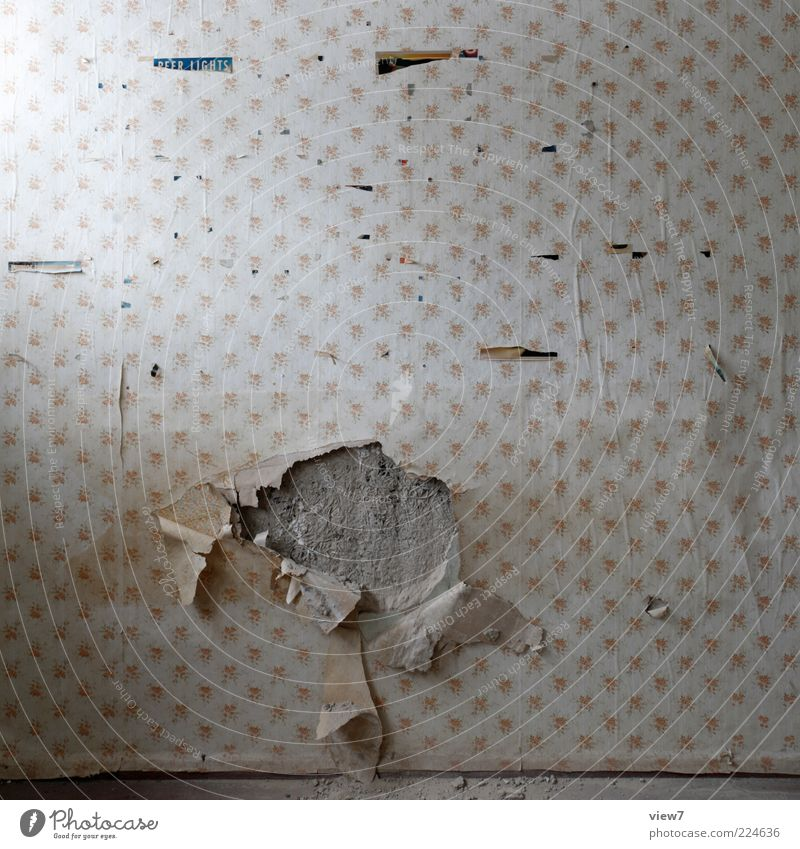 Motif of restlessness Wallpaper Old Authentic Simple Decline Past Transience Hollow Change of scene Tracks Colour photo Interior shot Close-up Detail Deserted