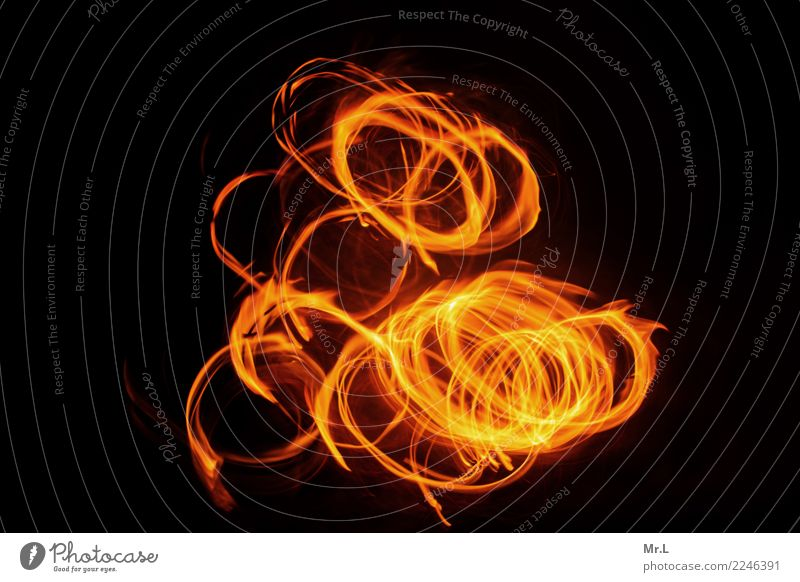 Dancing Circles Nature Fire Aggression Hot Bright Warmth Yellow Orange Red Black Adventure Movement fire circles Colour photo Exterior shot Abstract Pattern