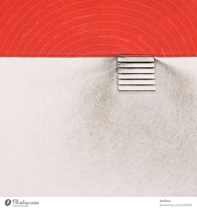 White Red Colour Wall (building) Background picture Dirty Facade Stripe Exhaust gas Grating Partially visible Section of image Disk Ventilation Air