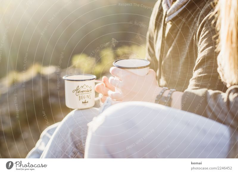 Outside drinking tea Beverage Tea Mug Lifestyle Well-being Contentment Senses Relaxation Calm Leisure and hobbies Vacation & Travel Trip Adventure Freedom