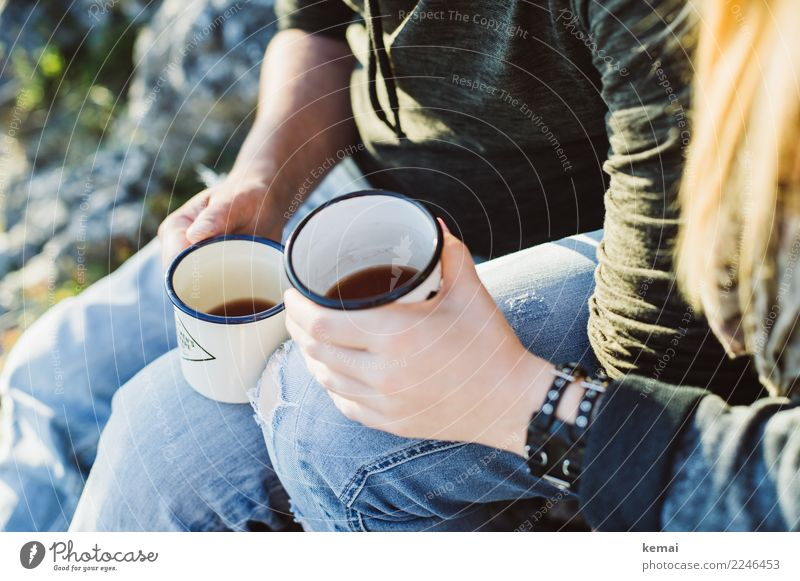 Just drink it up. Tea Cup Mug Lifestyle Style Harmonious Well-being Contentment Senses Relaxation Calm Leisure and hobbies Trip Freedom Camping Sun Mountain