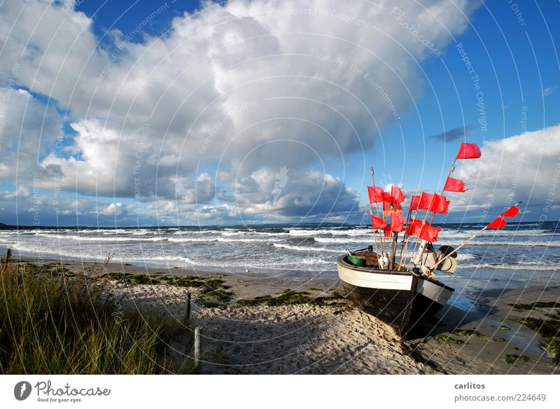 The boat Environment Nature Water Sky Horizon Autumn Gale Waves Coast Baltic Sea Island Lie Esthetic Infinity Natural Blue Red Longing Movement Loneliness