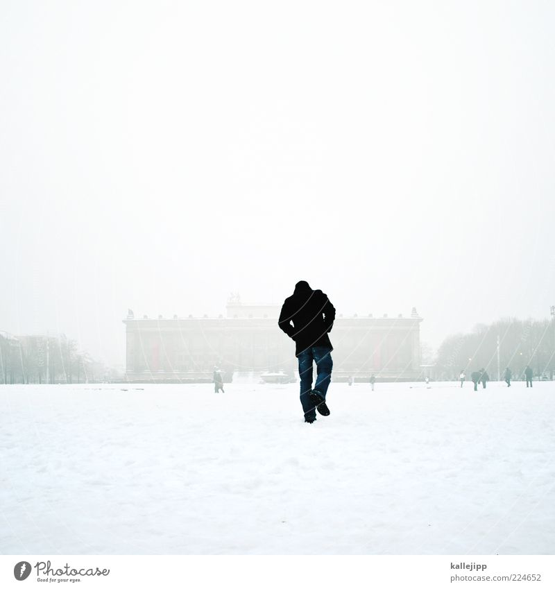 Human being Man White City Winter Adults Snow Berlin Building Ice Park Going Fog Masculine Frost To go for a walk