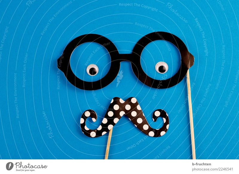 Hi! Face Eyes Eyeglasses Facial hair Moustache Sign Observe Looking Happiness Cliche Blue Black Cool (slang) Idea Identity Uniqueness Requisite Cardboard Man
