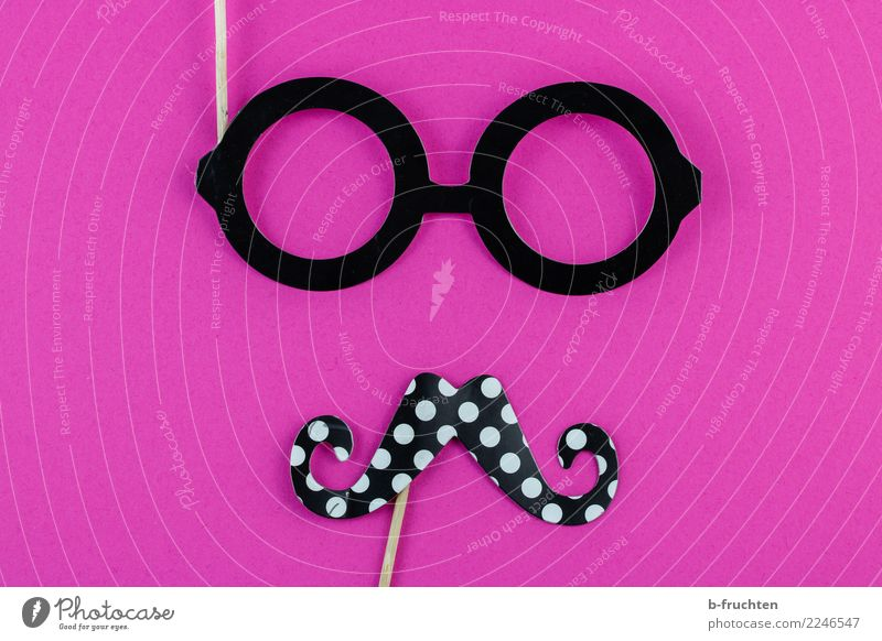 Oh, boy! Feasts & Celebrations Carnival Hallowe'en Face Facial hair Eyeglasses Looking Pink Black Requisite Male likeness Man Roleplay Cliche Playful Mask