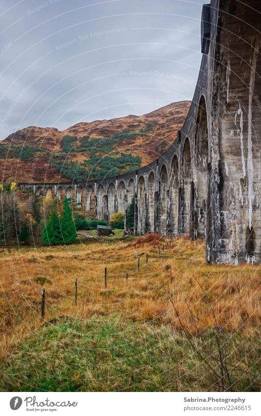 In the footsteps of Harry Potter. Art Architecture Environment Landscape Clouds Autumn Winter Bad weather Grass Bushes Meadow Mountain Bridge Manmade structures