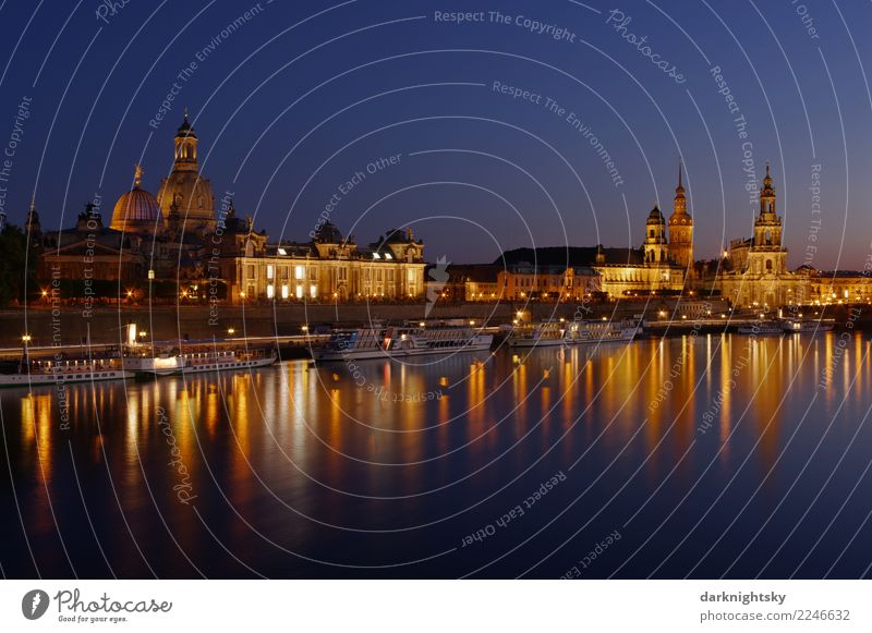 Panorama Dresden Night Germany Europe Town Downtown Old town Skyline Church Dome Palace Manmade structures Building Architecture Tourist Attraction Landmark