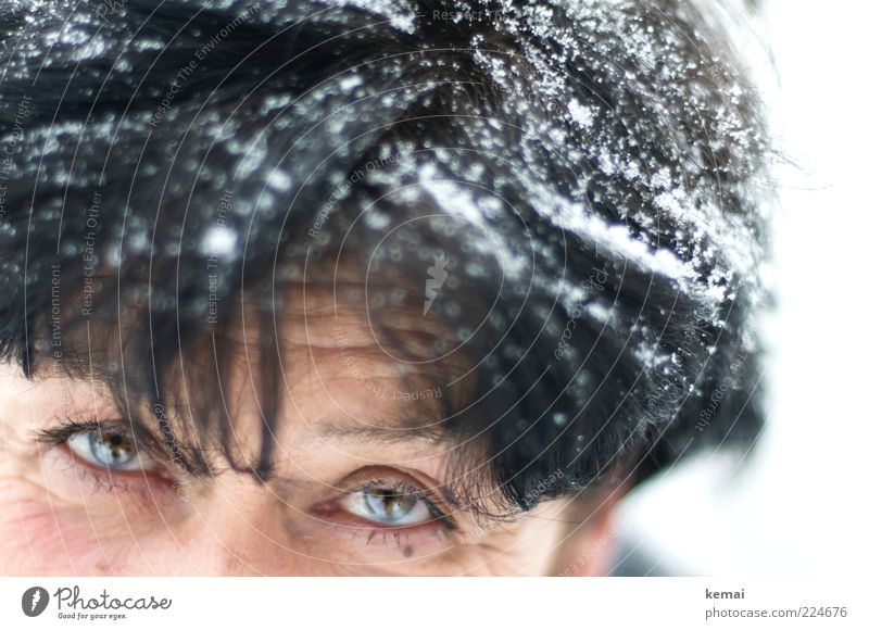 Human being Woman White Winter Black Face Adults Eyes Life Cold Snow Senior citizen Head Hair and hairstyles Snowfall Ice