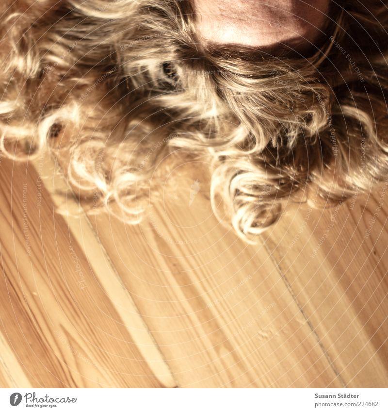 loose curl Feminine Woman Adults Head Hair and hairstyles Blonde Long-haired Curl Part Bangs Lie Dream Floorboards Strand of hair Wood Floor covering