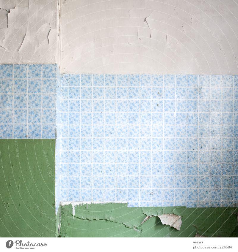 zeitgeist Flat (apartment) Decoration Wallpaper Room Concrete Line Stripe Old Dark Simple Elegant Fresh Broken Blue Green Esthetic Design Decline Past