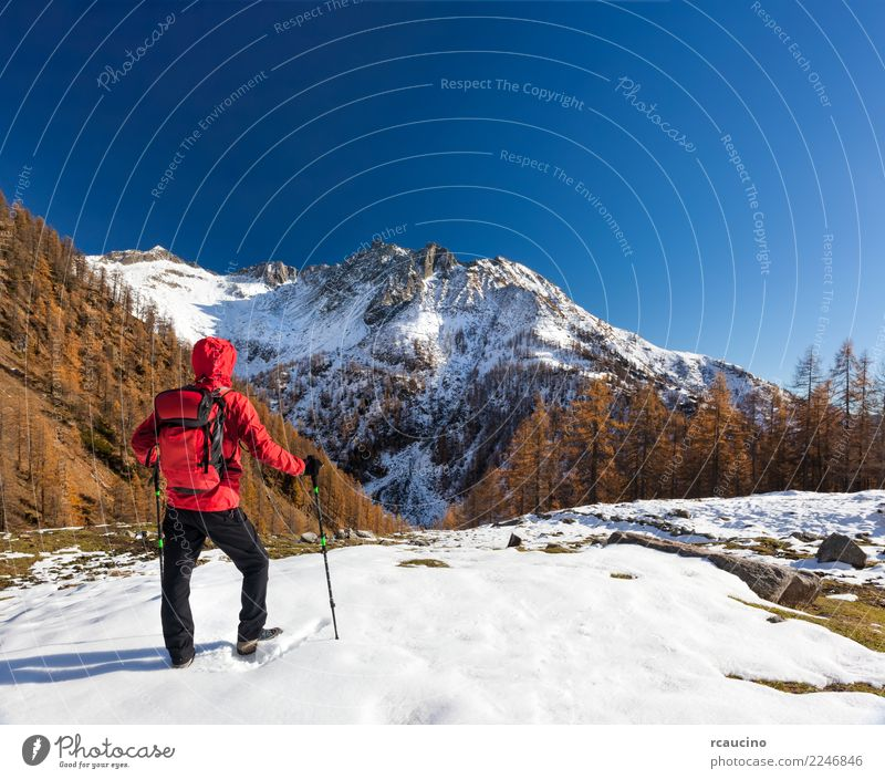 Man is backpacking in winter mountains Relaxation Vacation & Travel Tourism Adventure Expedition Winter Hiking Sports Human being Adults Nature Landscape Autumn