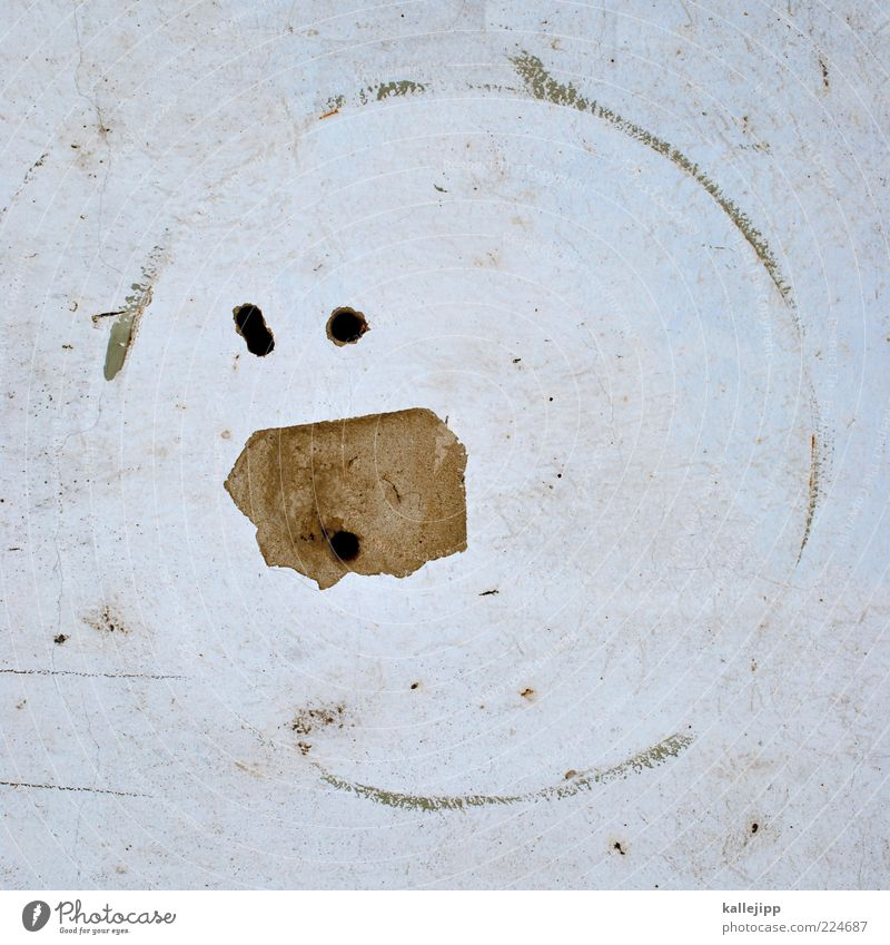 pac man Sign Plaster Hollow Wall (building) Marvel Colour photo Subdued colour Light Borehole Derelict Circle Smiley Dirty Copy Space Fantasy Day