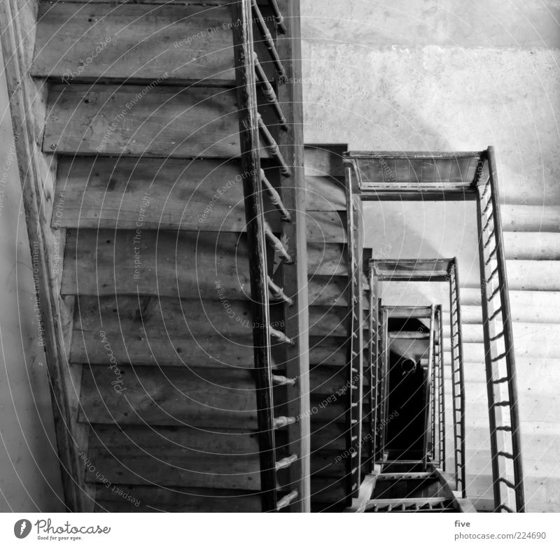 6th floor Manmade structures Building Stairs Old Sharp-edged Simple Tall Black White Banister Wood wooden staircase Old building Black & white photo