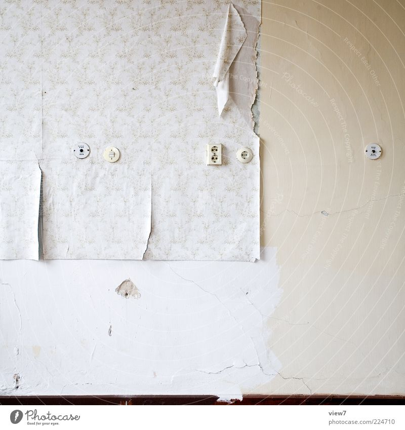 rocked Flat (apartment) Redecorate Moving (to change residence) Wallpaper Room Old Authentic Simple Decline Transience Destruction Socket Colour photo