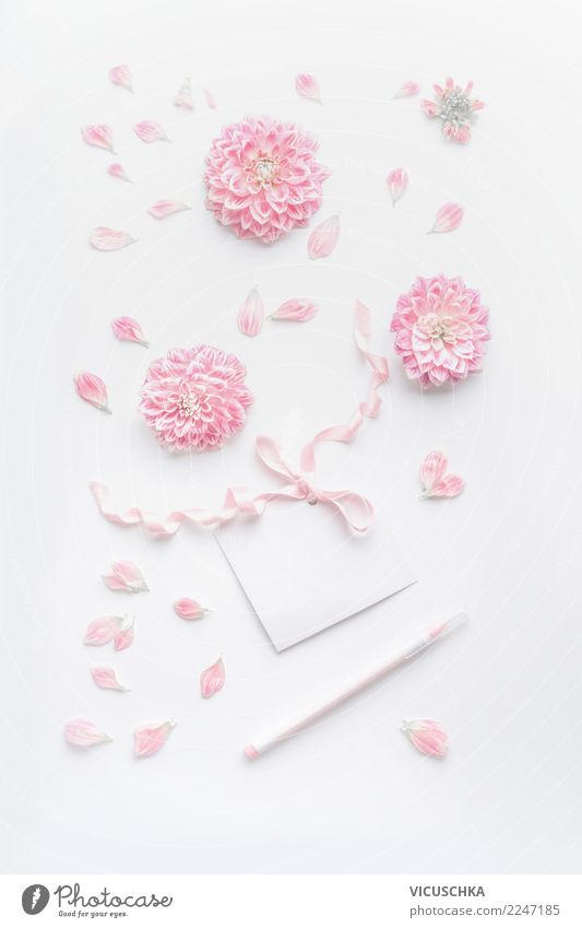 Pastel pink still life with flowers and greeting card Elegant Style Design Desk Party Event Feasts & Celebrations Valentine's Day Mother's Day Wedding Birthday