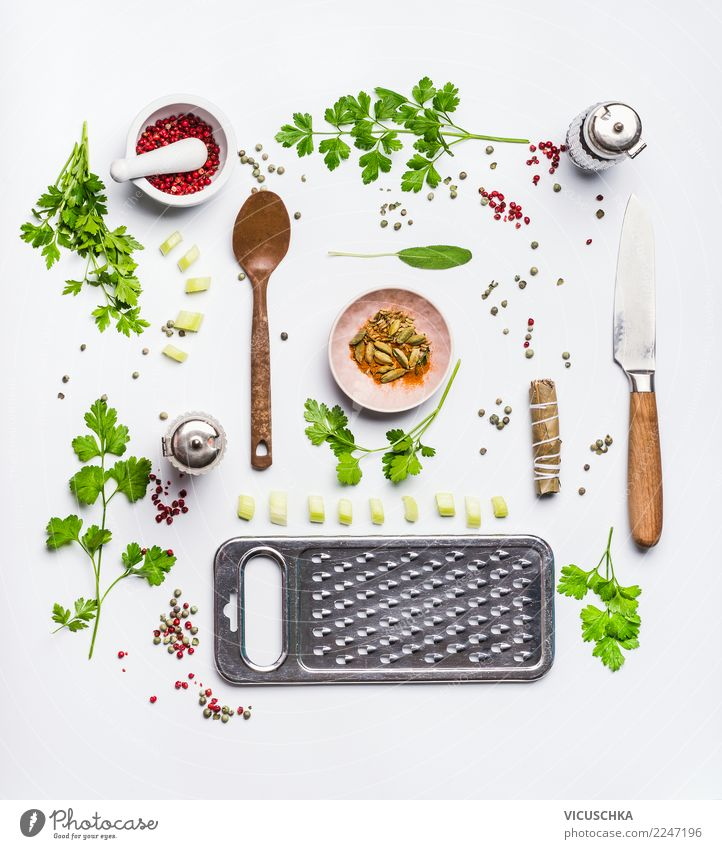 Healthy eating and cooking Food Nutrition Organic produce Vegetarian diet Diet Crockery Style Design Healthy Eating Ornament Conceptual design Cooking