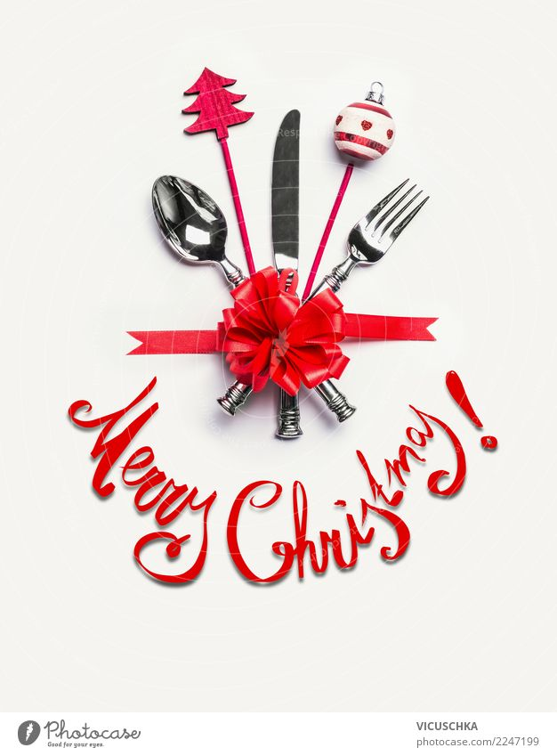 Merry Christmas Christmas Card Banquet Cutlery Style Design Winter Party Event Restaurant Feasts & Celebrations Christmas & Advent Decoration Sign Tradition