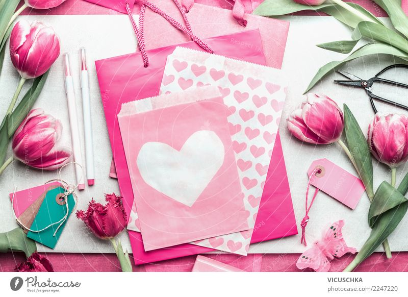 Pink gift packaging with tulips and hearts Style Design Table Party Event Feasts & Celebrations Valentine's Day Mother's Day Wedding Birthday Spring Flower
