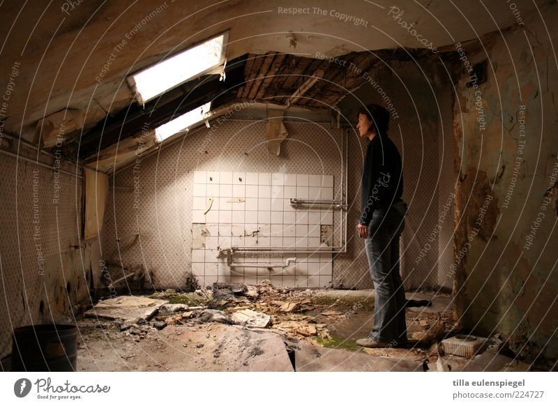 Human being Woman Old House (Residential Structure) Adults Dark Dirty Broken Stand Gloomy Bathroom Observe Derelict Tile Ruin Destruction