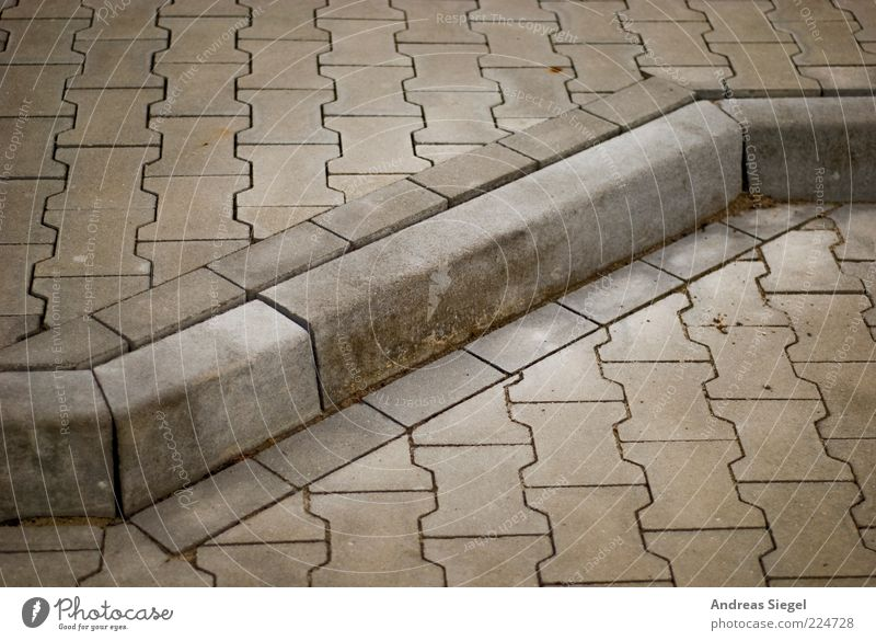bone plaster Lanes & trails Curbside Paving stone Stone Line Sharp-edged Simple Firm Clean Gloomy Town Gray Pave Corner Colour photo Subdued colour