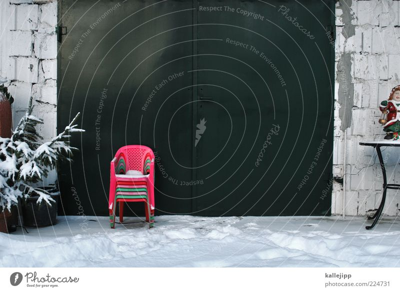 Winter House (Residential Structure) Snow Garden Facade Table Chair Gate Fir tree Stack Fir branch Plastic chair