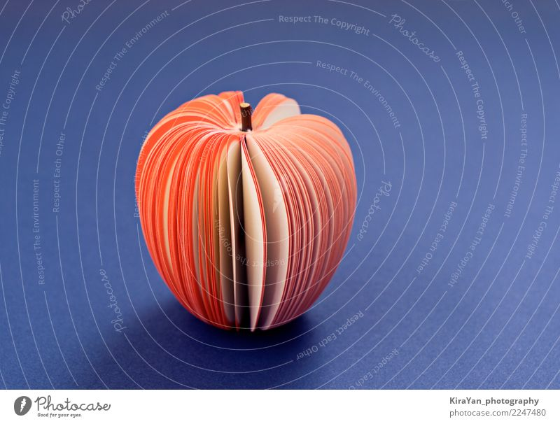 Fake Apple from paper on the purple background Food Fruit Diet Lifestyle Health care Decoration Wallpaper Child School Study Office Craft (trade) Art Paper