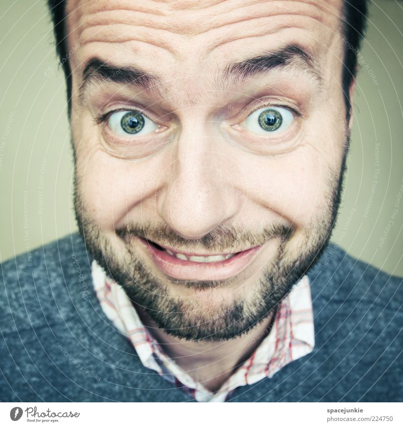 Human being Adults Eyes Happy Funny Masculine Crazy Exceptional Cute Curiosity Smiling Facial hair Whimsical Joie de vivre (Vitality) Grinning Portrait photograph