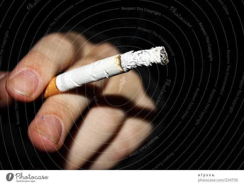 smoking time. Smoking Hand Fingers Cigarette Black White Serene Addiction Colour photo Exterior shot Night Ashes Time Wait Cigarette holder Close-up Retentive