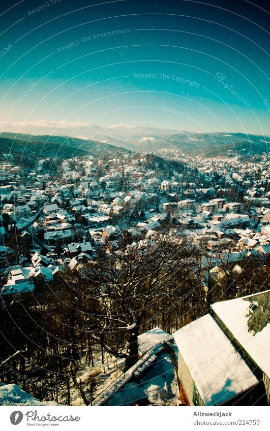 Blue Winter Snow Building Village Skyline Vantage point Harz Town City Wernigerode
