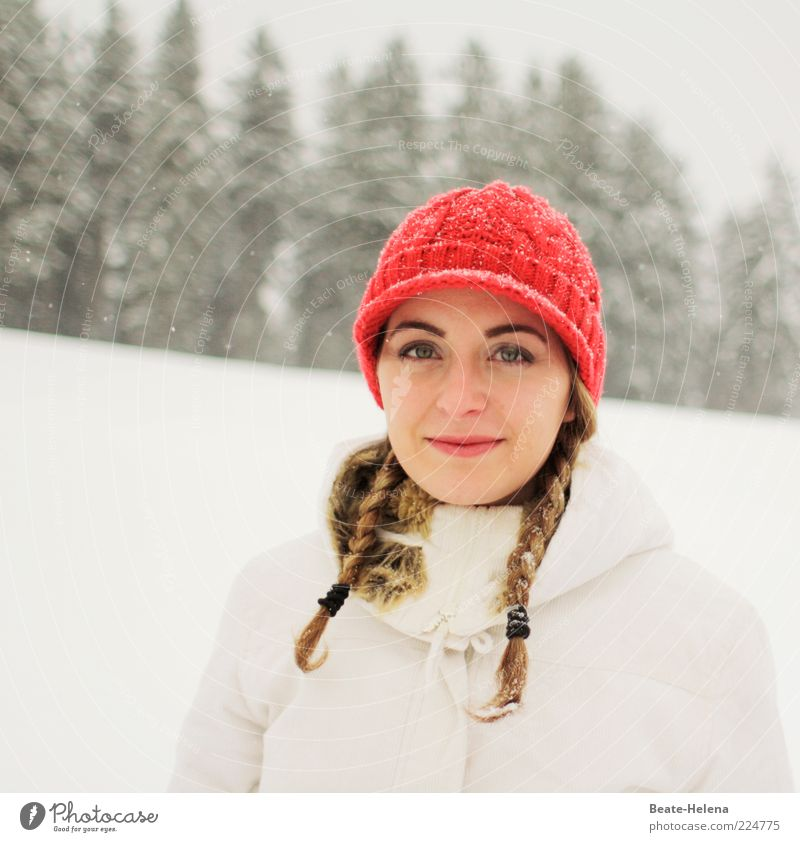 Snow White and Rose Red Young woman Youth (Young adults) 1 Human being 18 - 30 years Adults Winter Snowfall Jacket Cap Blonde Braids To enjoy Smiling Authentic