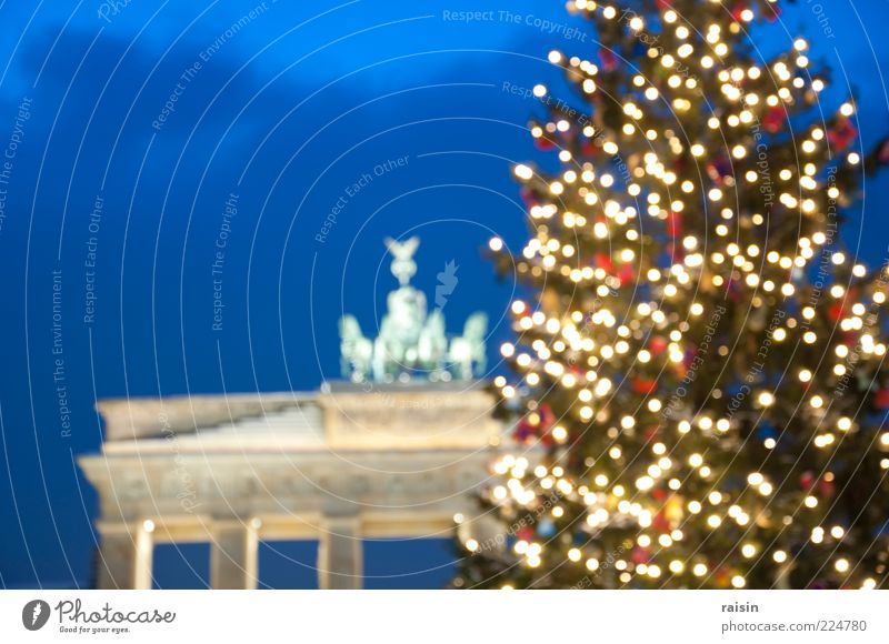christmas, diffuse. Night sky Winter Downtown Berlin Germany Capital city Deserted Manmade structures Tourist Attraction Landmark Brandenburg Gate Decoration