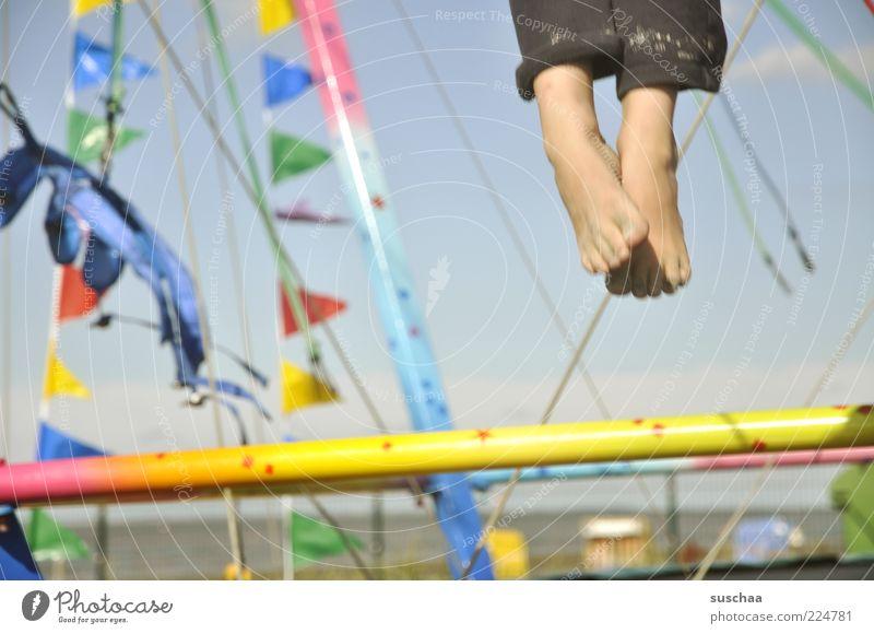 just let it dangle... Child Infancy Feet Air Sky Summer Beautiful weather Beach Plastic Movement Jump Joy Joie de vivre (Vitality) Life Flag Exterior shot
