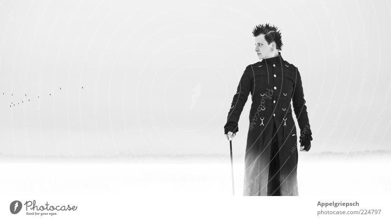 winter view Lifestyle Style Masculine Young man Youth (Young adults) 1 Human being 18 - 30 years Adults Youth culture Subculture Horizon Winter Fog Snow Field