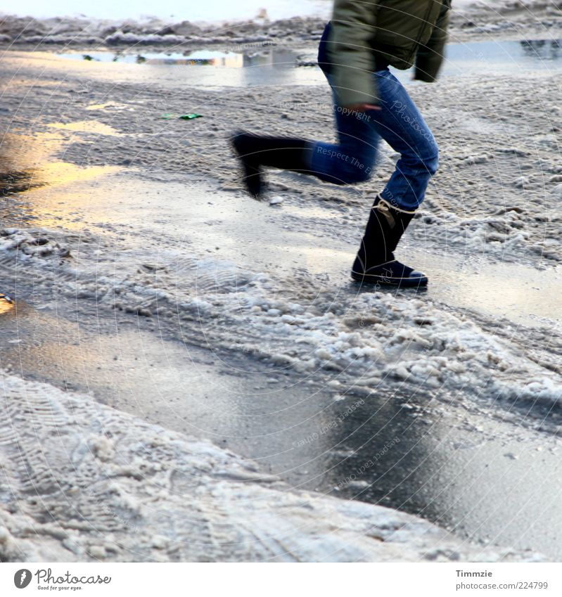 like ice in the sunshine Winter Young woman Youth (Young adults) Legs Water Ice Frost Snow Movement Running Jump Glittering Speed Cold Skid Reflection