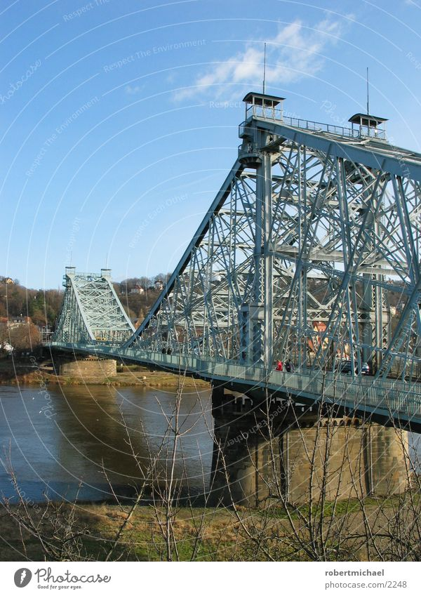Human being Water Sky Blue Meadow Watercraft Walking Bridge Driving River Dresden Steel Column Iron Elbe Villa