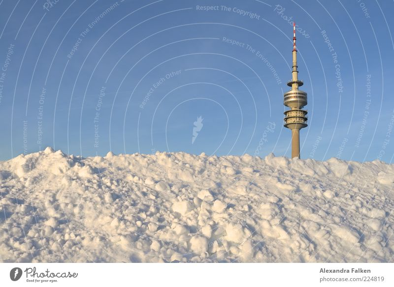 Munich goes under. Sightseeing City trip Winter Snow Olympic Park Television tower Sky Cloudless sky Bavaria Deserted Tower Tourist Attraction Landmark Cold