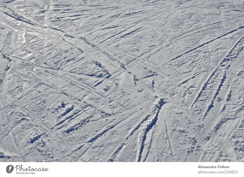 Cross and cross II. Leisure and hobbies Vacation & Travel Trip Winter Snow Winter vacation Winter sports Ski run Cold Skiing Holiday season Tracks Colour photo