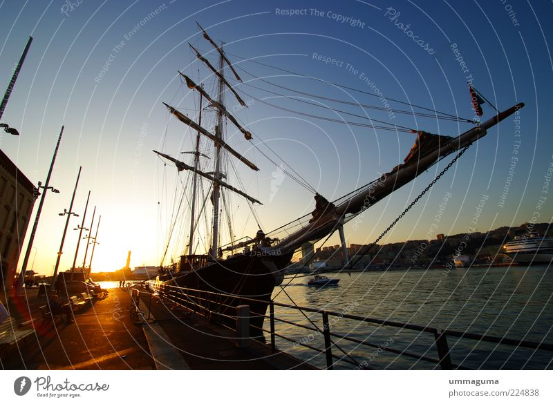 Leisure and hobbies Beginning Harbour Navigation Sailboat Watercraft Sailing ship Sunrise Land Feature Vacation & Travel Port City Boating trip
