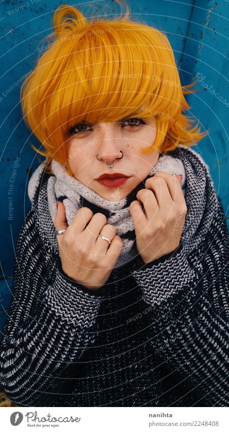 Young redhead and rebellious woman Lifestyle Style Beautiful Hair and hairstyles Skin Face Freckles Human being Feminine Young woman Youth (Young adults) 1