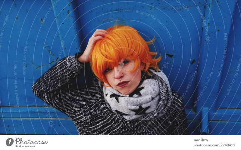Bored and angry redhead young woman Lifestyle Hair and hairstyles Face Human being Feminine Young woman Youth (Young adults) 1 18 - 30 years Adults Autumn