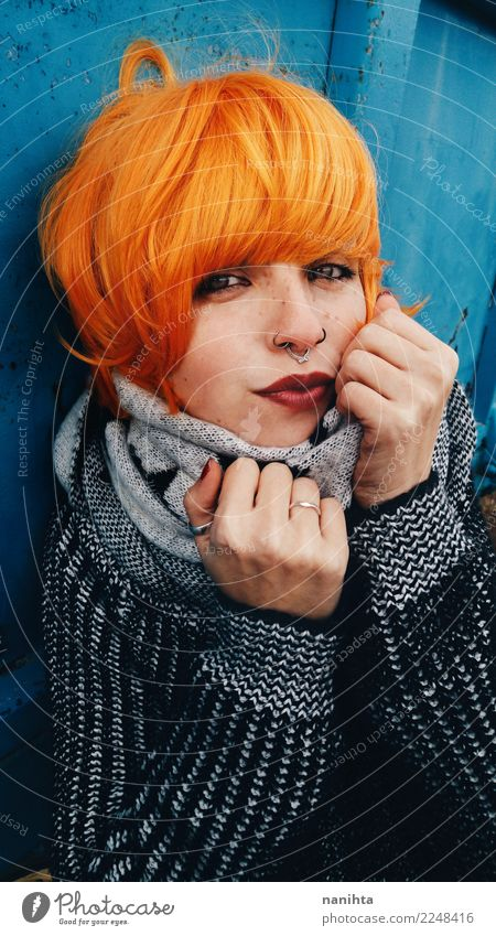 Young redhead woman wearing winter clothes Human being Youth (Young adults) Young woman Beautiful Winter 18 - 30 years Black Adults Warmth Cold Feminine Style