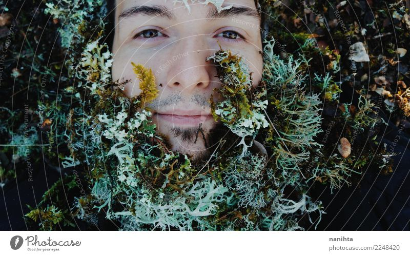 Young man with moss as beard Human being Nature Youth (Young adults) Man Plant Green White Winter Forest 18 - 30 years Black Face Adults Life Environment
