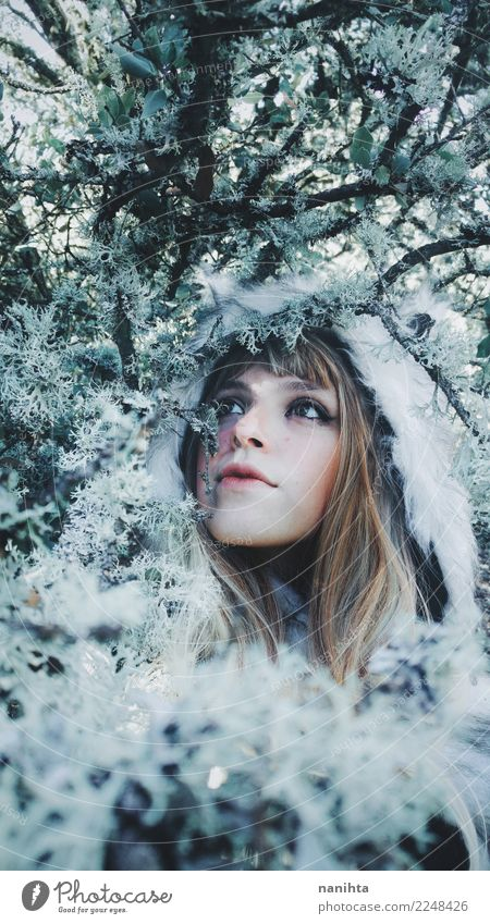 Young beautiful woman in a winter day Human being Nature Youth (Young adults) Young woman Plant Beautiful White Tree Winter 18 - 30 years Adults Environment