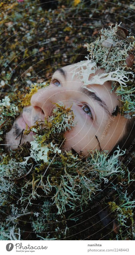 Young man's face covering by moss Human being Nature Man Plant Beautiful Green White Relaxation Calm Forest Face Adults Brown Masculine Growth Skin