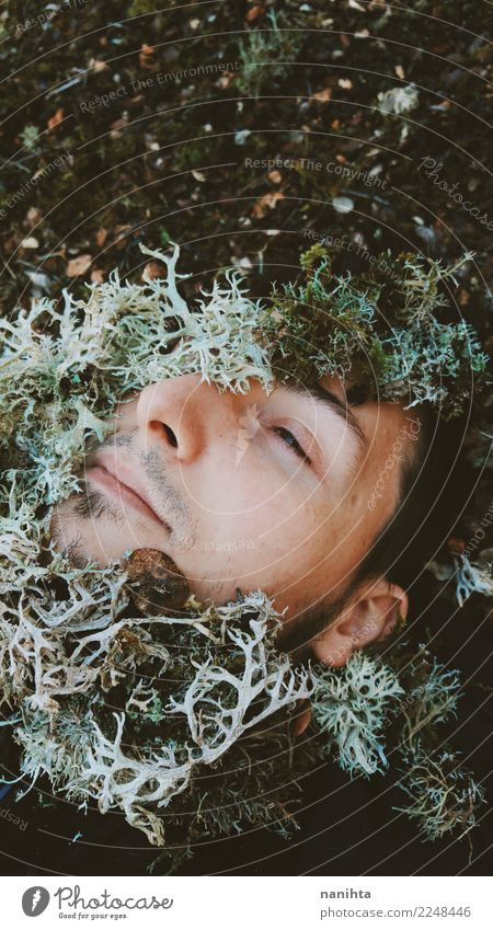 Young man covering by moss Exotic Face Healthy Alternative medicine Human being Masculine Man Adults 1 18 - 30 years Youth (Young adults) Environment Nature