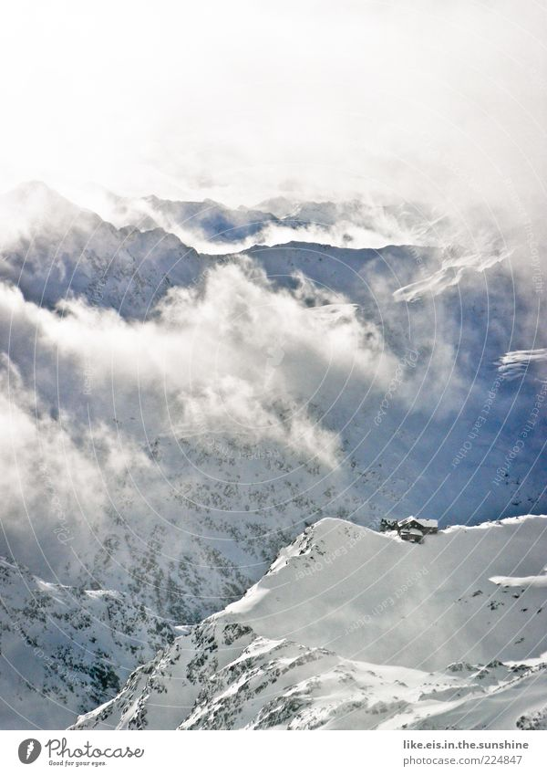 Nature Vacation & Travel Clouds Winter Calm Loneliness Relaxation Cold Snow Mountain Landscape Ice Trip Fog Frost Alps