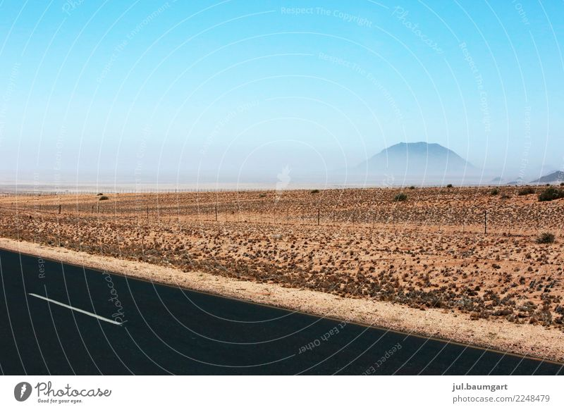 Namibia haze in nowhere Nature Landscape Earth Sand Sky Cloudless sky Horizon Warmth Desert Street Vacation & Travel Colour photo Exterior shot Deserted