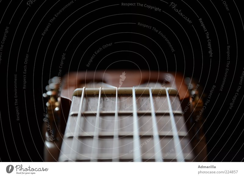 Six strings Leisure and hobbies Music Guitar Listen to music Playing Free Original Brown Black Colour photo Interior shot Detail Structures and shapes Deserted