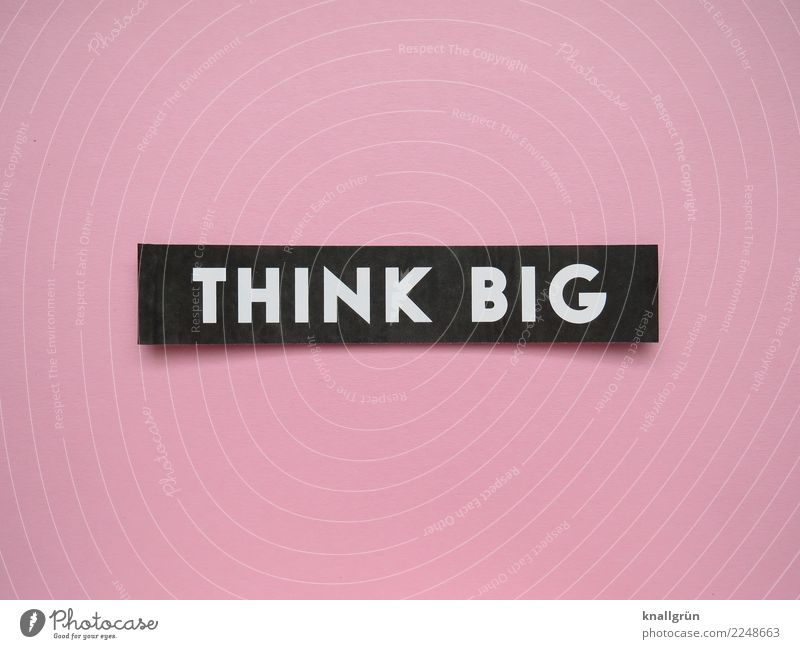Think big Characters Signs and labeling Communicate Sharp-edged Pink Black White Emotions Moody Joie de vivre (Vitality) Enthusiasm Self-confident Optimism